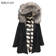 Фотография HOT 2016 Winter new fashion men high quality gray Fox fur raccoon fur collar army green long section of loose black parka&XXL