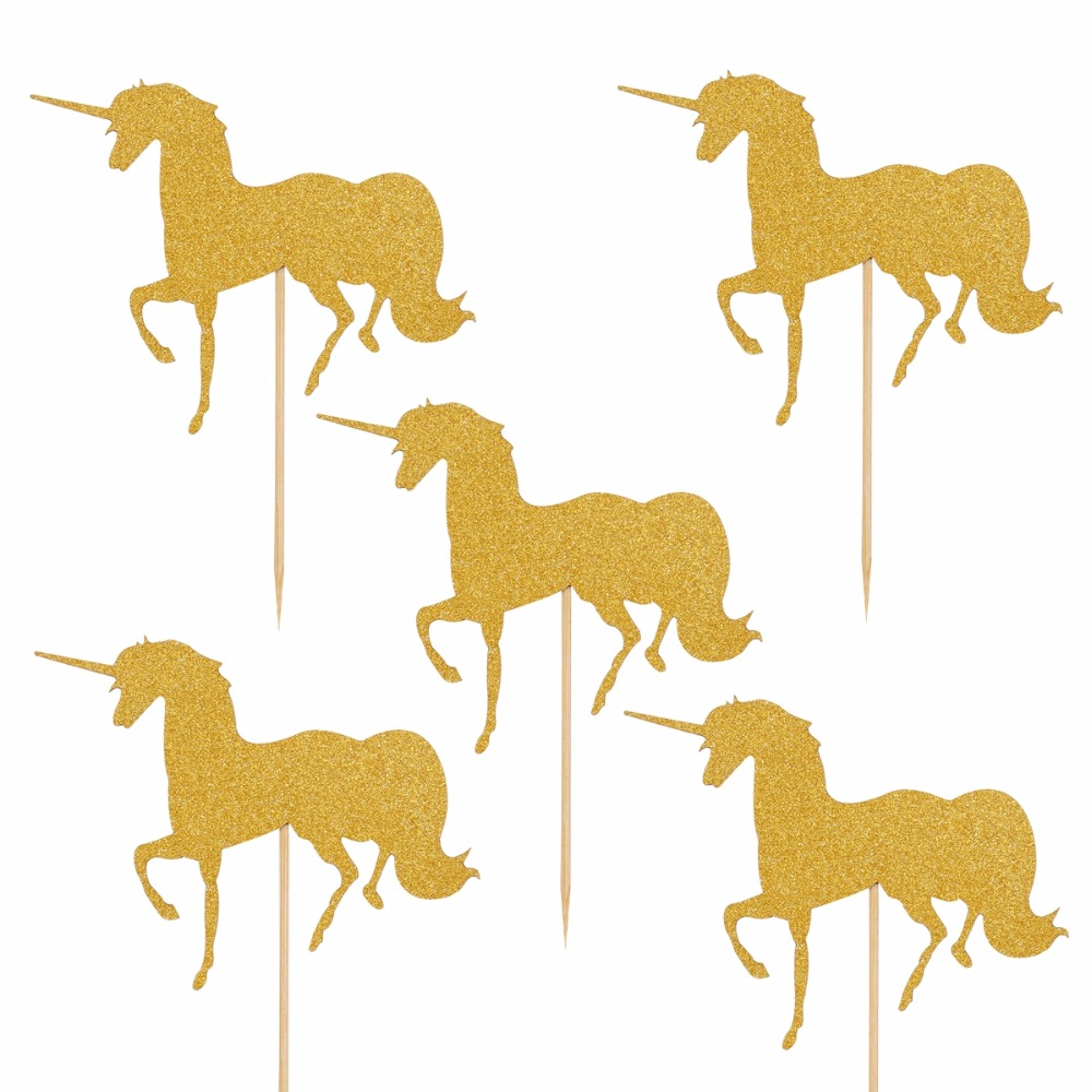 FENGRISE 5pcs Gold Unicorn Pegasus Cake Toppers Wedding Favors Boy ...