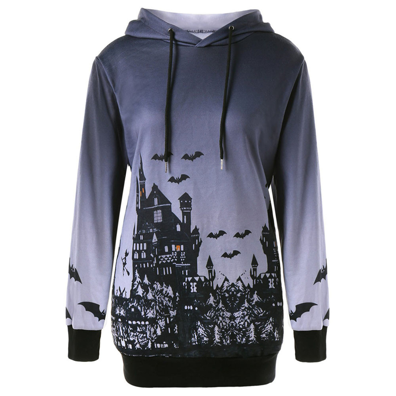 Women Hooded Halloween Witch Bat Print 2018 autumn women fashion Drawstring Pocket Hoodie Sweatshirt Tops     Y813#30