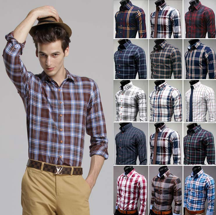 Plaid Shirt Men 2015 New Brand High Quality Fashion Men S Long