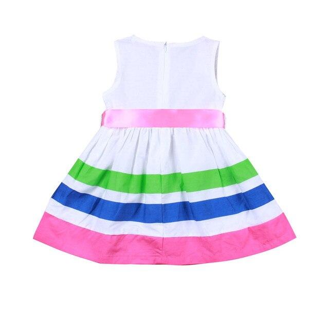 Cute Girls Stripe Vest Dress Fashion Casual Cotton Party Knee Dress  Sleeveless Bow College Princess Dresses efd58bbb94fa