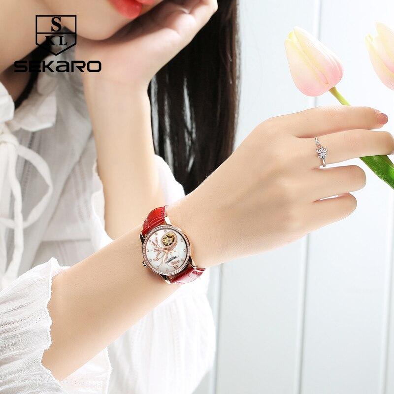 Mulheres Diamantes de Luxo de Couro SEKARO Moda relógio Mecânico Qualidade Superior Padrão de Flor de Lavanda Relógio das Mulheres Relógio de Pulso Presente - 2