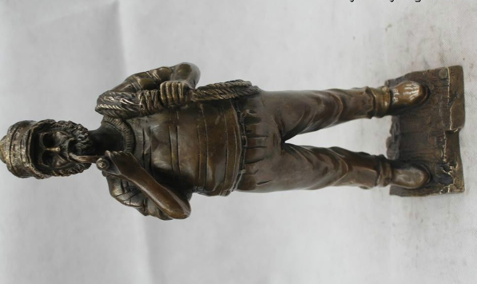 "14""China Chinese Folk Bronze beautiful Lifelike Sailor fisherman captain Statue statues figurines captain accessories statue - title="