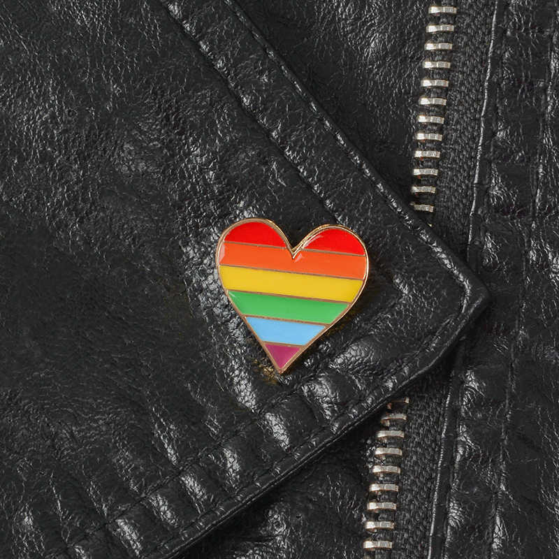 2b7bd5b90e5 ... Rainbow Pride Enamel Pin LGBT pins Rainbow Heart Enamel pin Gay Pride  Flag Lapel pin Shirt