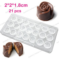 2 8x1 9cm 21cups Rose Flower Chocolate Clear Polycarbonate Plastic Mold DIY Handmade Chocolate PC Mold