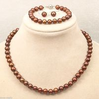 Wholesale price 16new ^^^^Genuine Natural 8-9mm Akoya Brown Pearl Necklace Bracelet Earring Jewelry Set