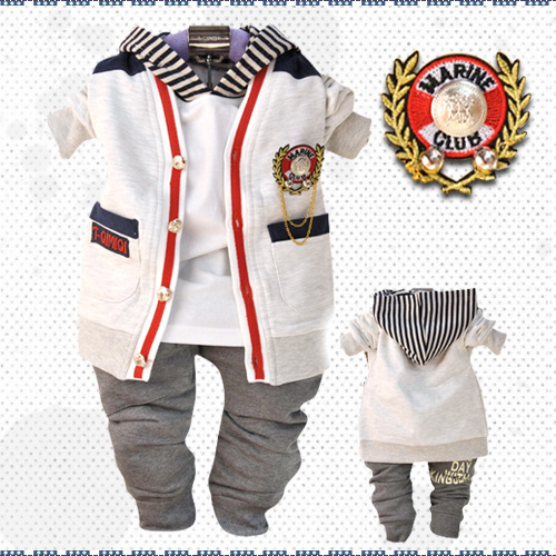 ФОТО Anlencool 2017 Free Shipping pose Infant Valley Three-piece Cotton Cardigan Clothing Spring Europeanbaby Boys Set Autumn