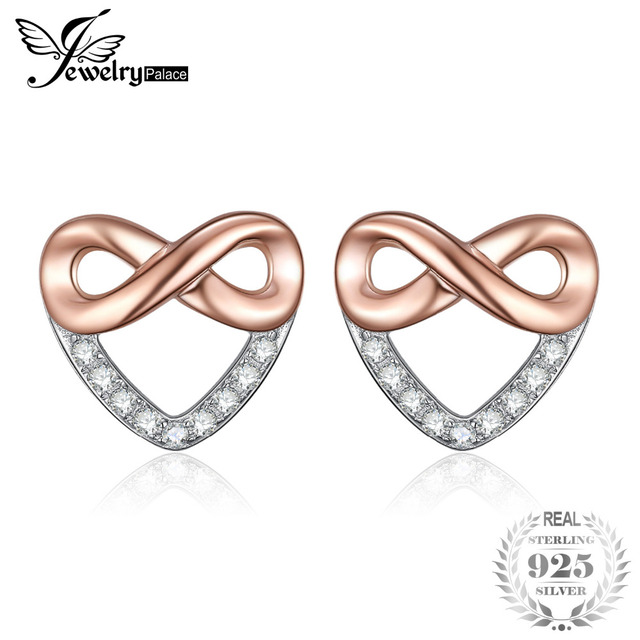JewelryPalace Infinity Heart Cubic Zirconia Stud Earrings 925 Sterling Silver Gi