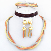 3 Color Gold Plated Twisted Chain Elegant Wedding African Female Jewelry Sets 100 Good Quality Guarantee