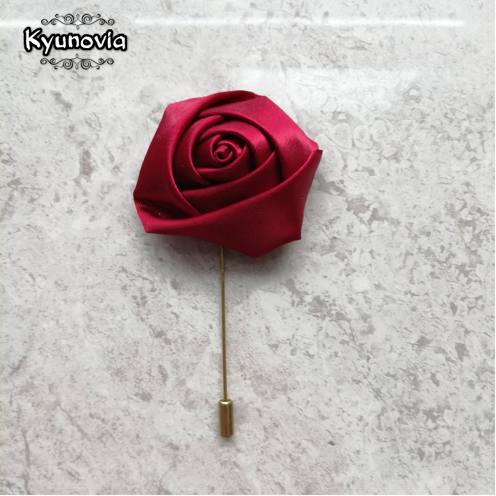 Kyunovia Simple Silk Rose Buttonholes Ceremony Best Man Pin Groom Groomsmen Buttonhole Wedding Boutonniere Prom Suit Pin D140