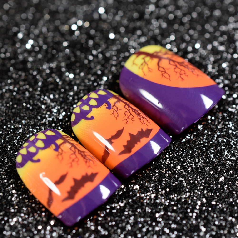 Orange Sunset View Purple French False Nails Tips Tree Hawk Print Full Artificial Fake Nail for Home Office faux ongles