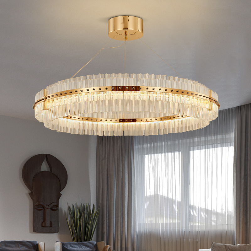 Living Room LED Chandelier Luxury Modern Crystal Lamp Double Layer Hanging Cristal Lustre Dining Room Gold Lighting