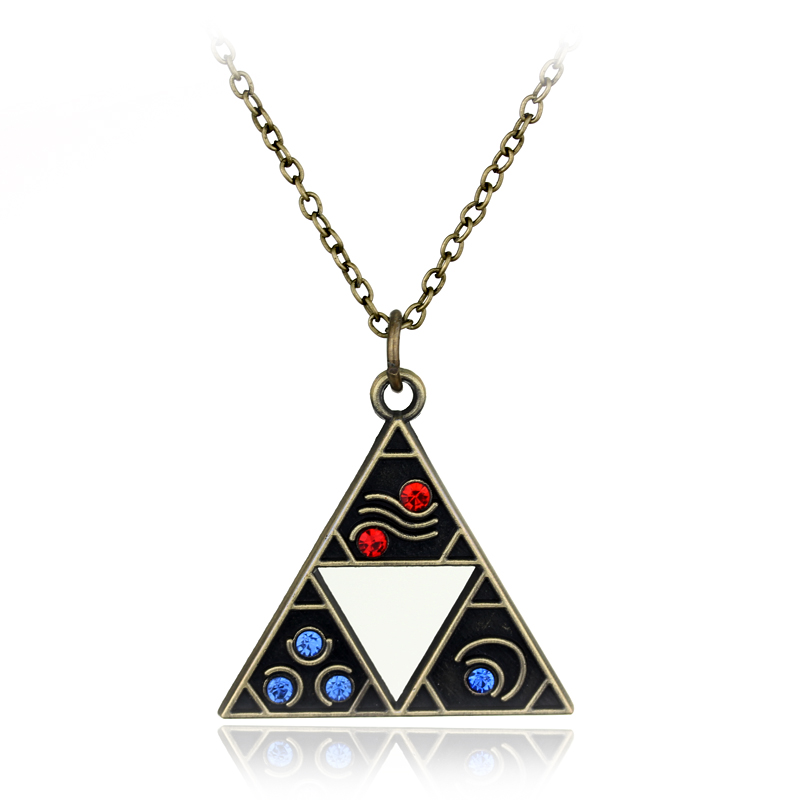 dongsheng Hot Vintage The Legend of Zelda necklace Triforce Colorful Crystal pendant cosplay jewelry Fans Men Women Gift -30