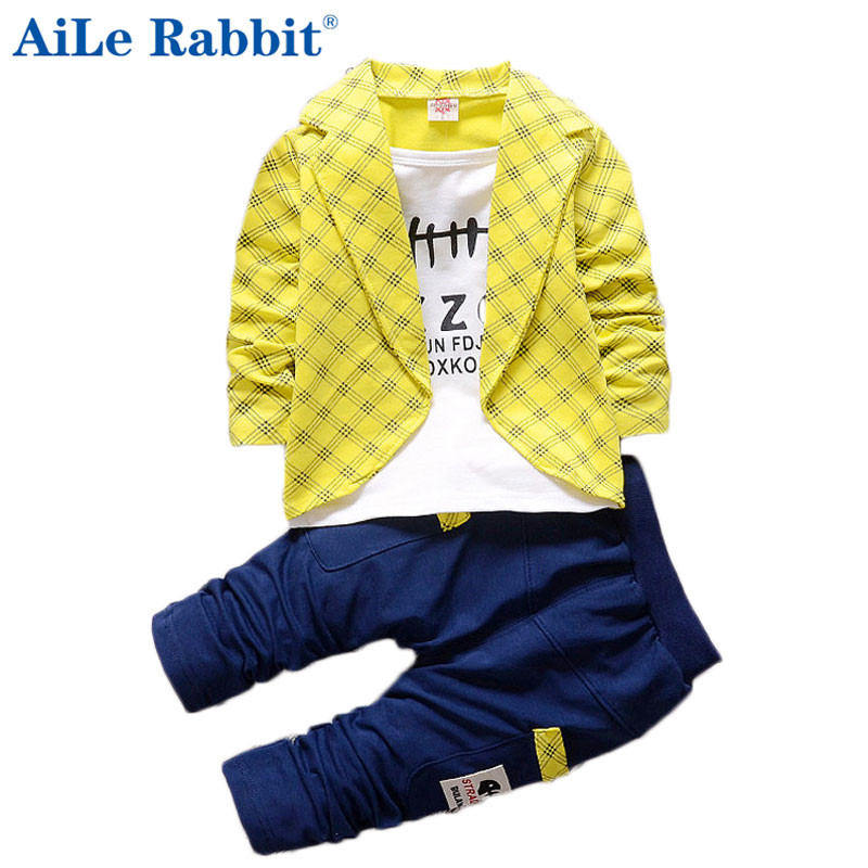 AiLe Rabbit 2017 Toddler Baby Boy Formal Clothing Lattice Long Sleeve+ Casual Pants 2PCS Children's Infant Clothings Set aile rabbit summer 2016 new baby boy pattern rabbit toddler plaid kids clothes children clothing set