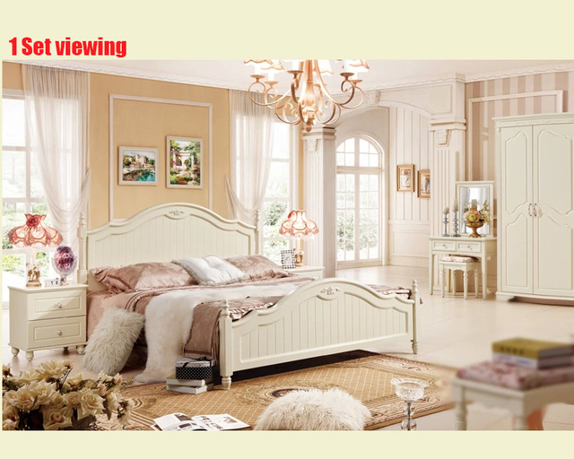 Free Shipping Royal Luxury Style Bedroom Furniture Set Including Bed Nightstand Wardrobe Dresser Stool