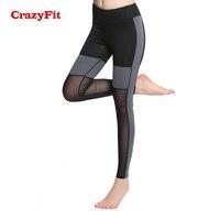 CrazyFit Mesh Patchwork Compression Pants Running Tights Women Legging For Fitness 2018 Joging Elastic Waist Female Sports Pants