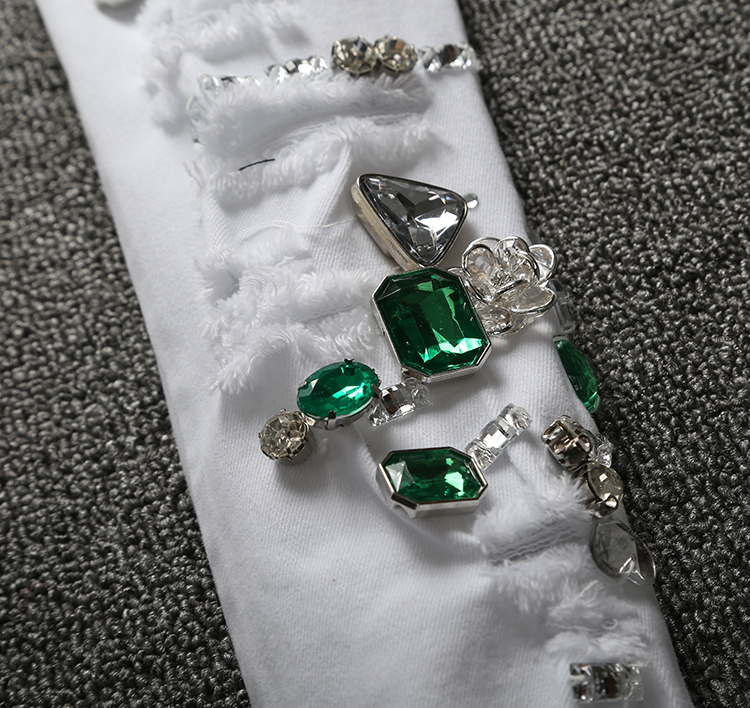Con 2018 Blanco Diamantes A329 Algodón Agujeros De Vaqueros Blancos Pantalones Moda Elásticos Mujer Para Ajustados qRTtq0SwB