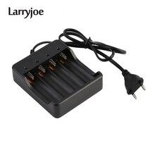 Larryjoe интеллектуальное зарядное устройство с европейской вилкой с 4 слотами и защитой от короткого замыкания для литий ионных аккумуляторных батарей 4X 18650