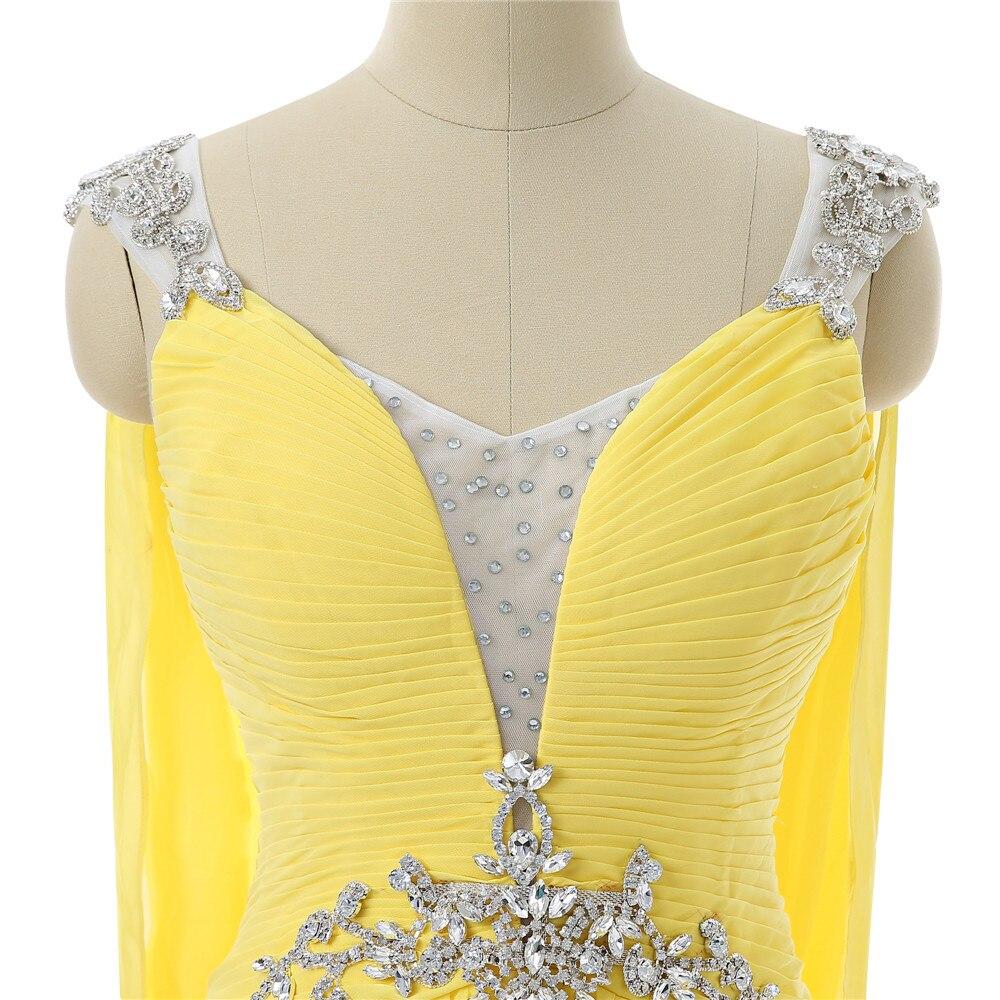 Robes De soirée jaunes 2019 a-ligne col en v Cap manches en mousseline De soie cristaux dos ouvert longue Robe De soirée Robe De bal Robe De soirée - 5