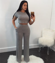 063c6c37919 Knitted Tracksuit Women Loungewear Casual Two Piece Sets Long Sleeve Ribbed Crop  Tops and Pant Ladies