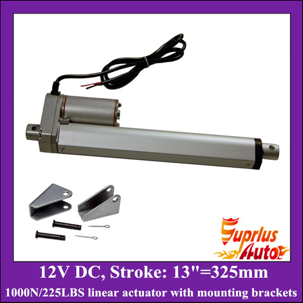 цена на 13inch/ 325mm stroke 12v linear actuator with mounting bracket, 1000N/100KGS load electric linear actuator