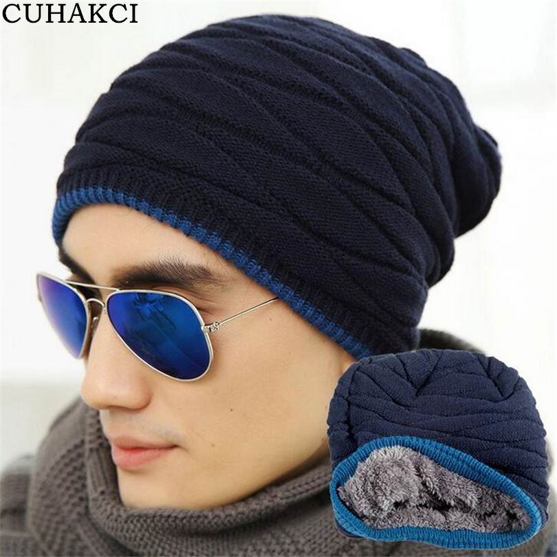 CUHAKCI Hats Men Cool   Beanies   Knitted Wool Solid Color Black Navy Blue Coffee Cap Winter Women's Hat Ski Warm Cap M053