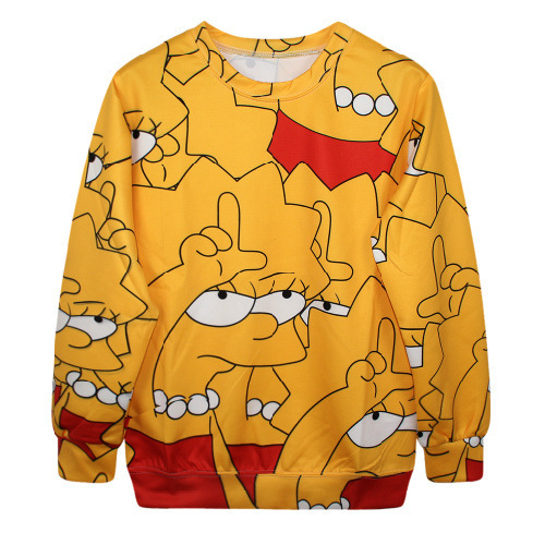 The Simpsons Lisa Simpson Print Sexy Womens Crewnecks Pullovers Sexy Outerwear Men