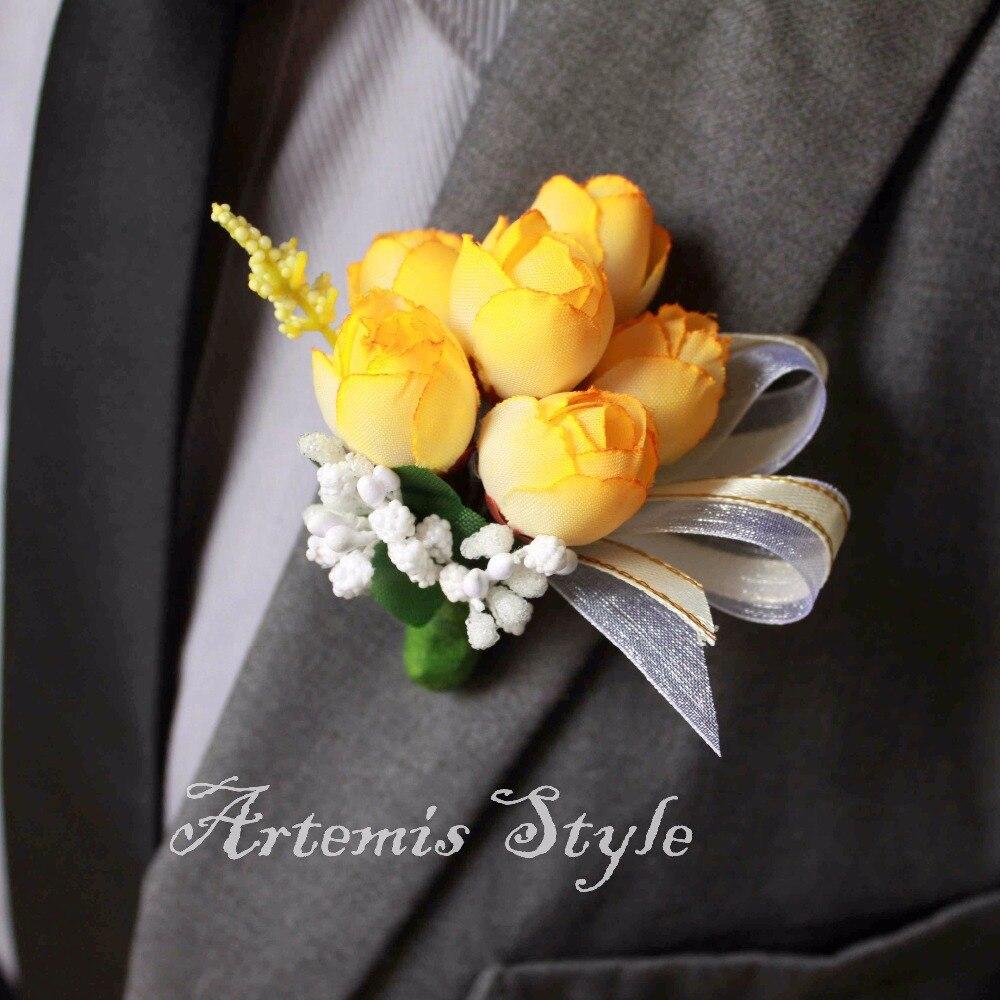 Lemon Yellow Rose Buds Matching Boutonniere Wrist Corsage Set