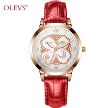 OLEVS Luxury Nurse Watch Women Rose Gold Leather Quartz Watches Waterproof Ladies Wrist watch Mother's Day Gift reloj mujer red