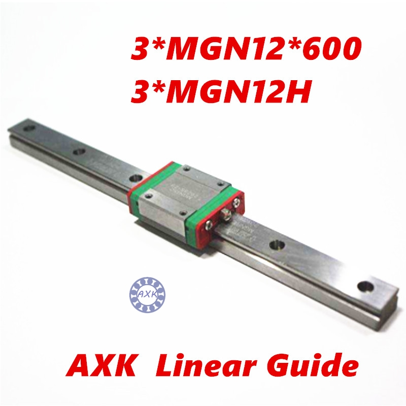 AXKPro Miniature MGN12 600mm  linear slide :3 pcs MGN12-600mm rail and  3 pcs of MGN12H carriage 3d printer parts kossel pro miniature 7mm linear slide 2pcs mgn7 450mm rail 2pcs mgn7h carriage for x y z axies 3d printer parts