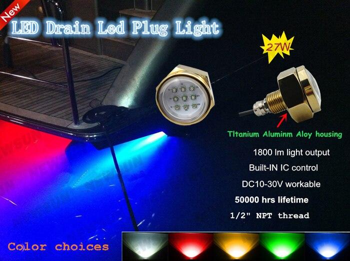 Подводный Цвет изменение CREE чип 9x3 Вт 27 Вт 1/2 ДНЯО Слива Освещение rgb led морской лодка свет