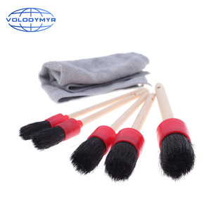 Image 2 - Car Cleaning Kit with 5pcs Detail Brush and 1pcs Microfiber Towel for Leather Air Vents Emblems Rims Wheel Detailing Auto