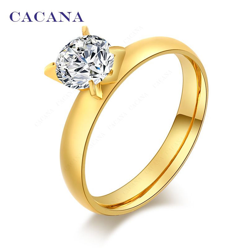 2016 CACANA Top quality rings for women 18k gold plated mellow fashion jewelry wholesale NO.R69
