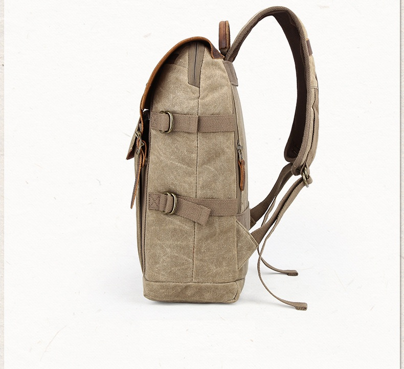 Canvas and leather DSLR Camera rucksack