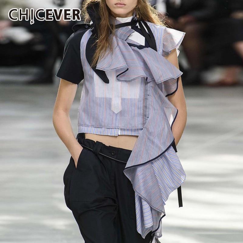 CHICEVER Summer Casual Striped Patchwork Ruffles Off Shoulder Women's Blouse Stand Collar Short Sleeve Loose Asymmetrical Shirt
