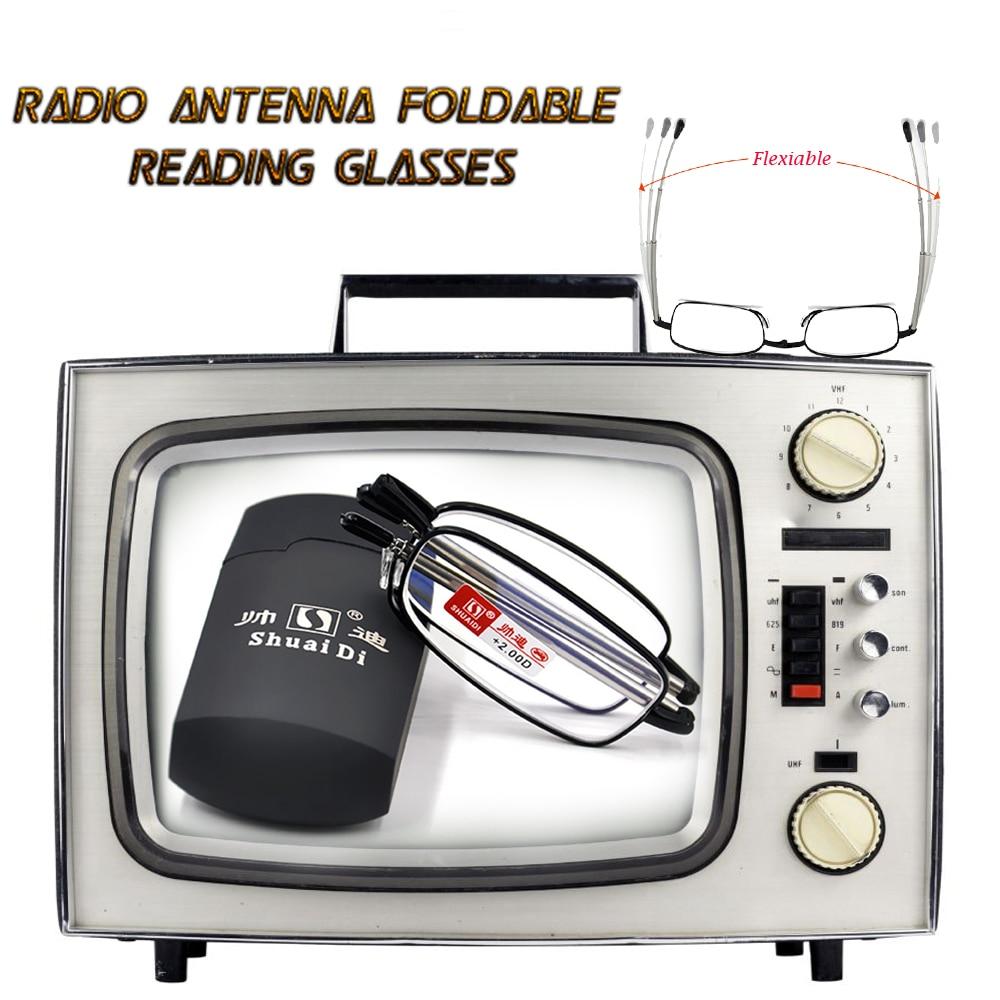 [SHUAIDI RADIO ANTENNA GLASSES] 접이식 프레임 신축성 다리 신식 강성 합금 독서 용 안경 +1 +1.5 +2 +2.5 +3 +3.5 +4