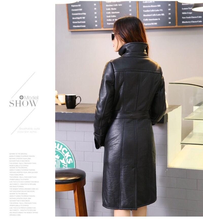 Nouveau 2018 Double Survêtement Veste Streetwear De face Long Femmes Véritable Mérinos Parka Cuir 1 Manteau Capot Réel Fourrure Moutons En D'hiver rrdwg