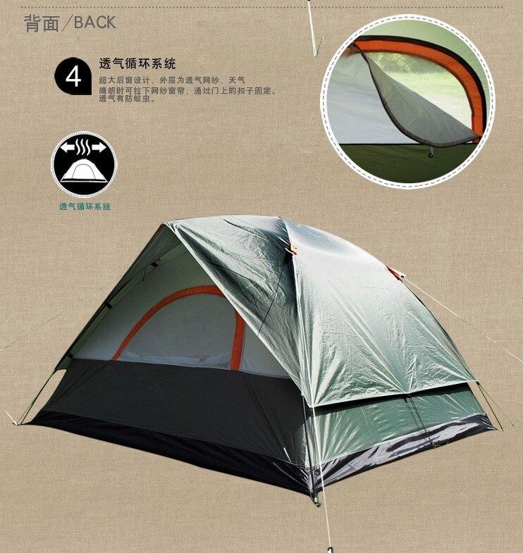 Tente de Camping en plein air camping tente double couche adhésif 3 tente classique vente chaude