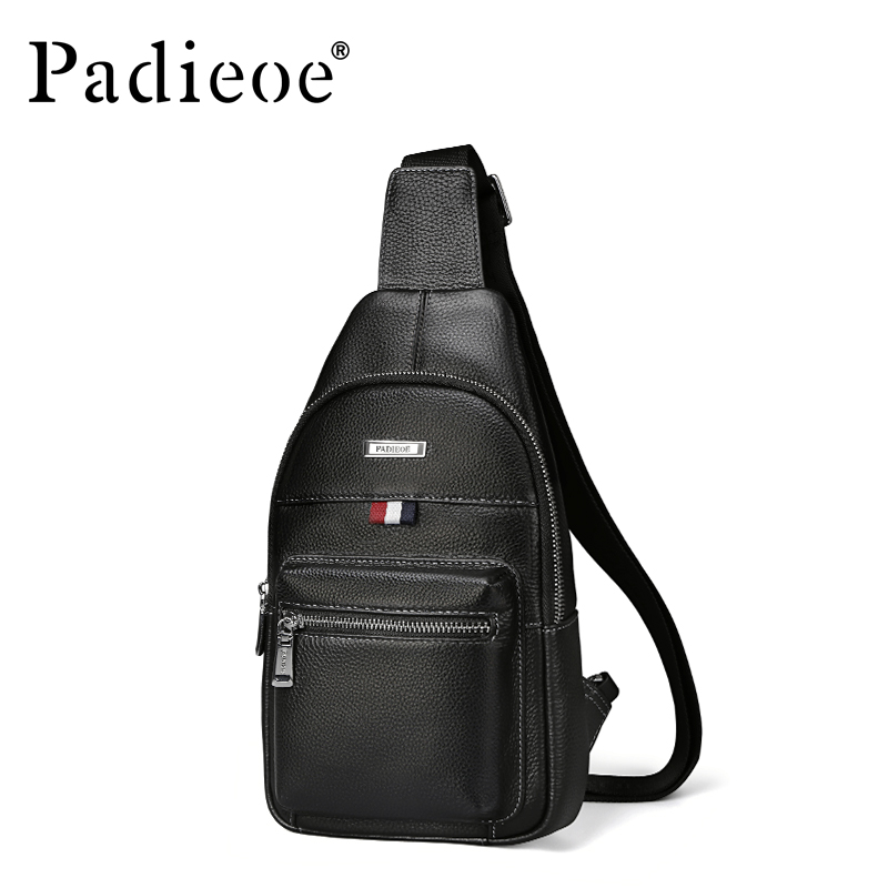 Padieoe Small Shoulder Bag Genuine Leather Men's Chest Pack High Capacity Male Crossbody Bag for Travel Casual Men Sling Bag men s bags chest pack casual single shoulder back strap male bag split leather high capacity chest bag crossbody leather