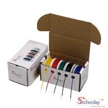 Ul 1007 22awg 40m cabo de linha de cobre estanhado, 5 cores mix de fios sólidos kit de fio elétrico diy