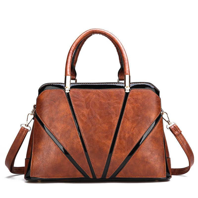 4a29a5cd2491 2018 Скидка Роскошные женские кожаные сумки повседневные коричневые сумка-шоппер  через плечо сумка Топ-