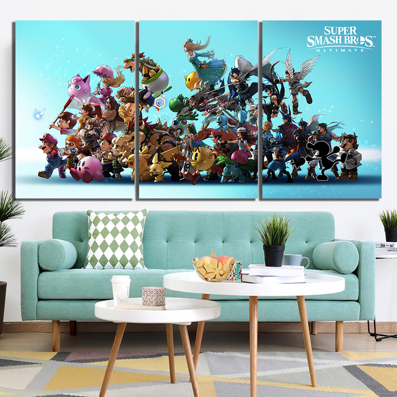 3 Piece Smash Brothers Game Poster Artwork Paintings Super Bros Cartoon Pictures for Home Decor Wall Art