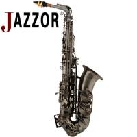 JAZZOR JYAS 2000H High Quality Professional Antique Silver Alto Saxophone E Flat With Bakelite Saxophone Mouthpiece