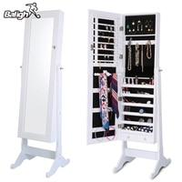 Balight Indoor Home Square Floor Type Mirror Cabinet Organizer Sports Accessories Cosmetics Jewelry Storage Cabinet Ship