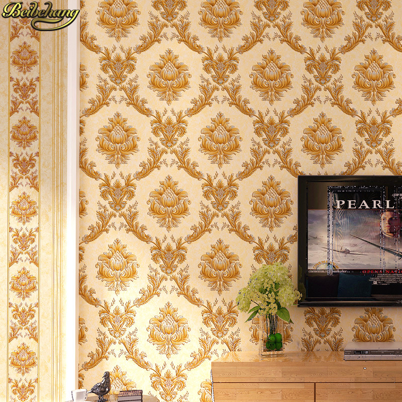 beibehang papel de parede 3D wallpaper for living room European embossed Damascus wallpaper for walls 3 d wall paper 3d flooring beibehang embossed damascus non woven wall paper roll modern designer papel de parede 3d wall covering wallpaper for living room