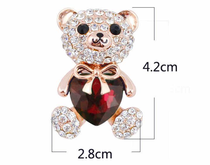 """Женская брошь """"Мишка"""" CINDY XIANG, брошь с большим кристаллом в форме сердца, 3 цвета"""