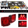 2 Pieces Waterproof Square Car LED Taillight DC 12V Truck Trailer Stop Brake Light Rear Marker