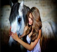 50*33cm 5D Full Drilled Squared Rhinestone Mosaic Set Diamond Painting of Women and Horse embroidery kits