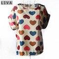 Estilo moda Mujeres Delgadas Camisa S-XXL Del Verano Suelta Gasa de La Impresión Colorida Blusa Casual Tops Manga Corta blusa femenina raya
