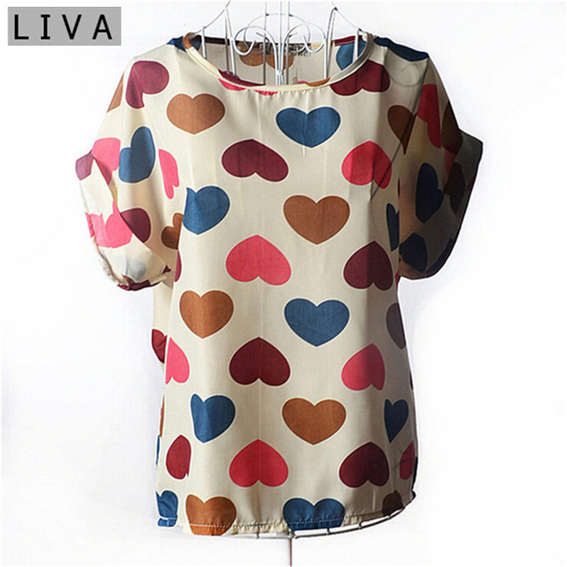 Fashion Thin Women   Shirt   S-XXL Summer Style Loose Colorful Print Chiffon   Blouse   Casual Tops Short Sleeve blusa feminina stripe